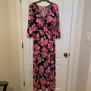 Navy + pink maternity dress